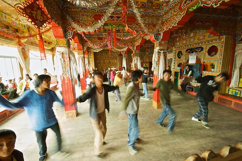Despite being so remote, Litang teens still keep up with modern Chinese trends.  These kids invited me to see them practice for an upcoming dance competition.  Rehearsal was in an old unused monastery.