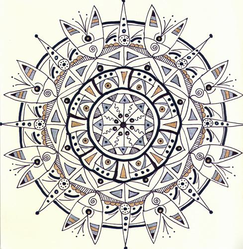 mandala #11 marker & gel ink on paper (c) 2009, Lynne Medsker