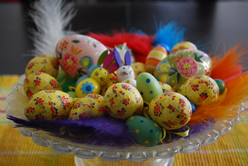 Easter decorations on a plate