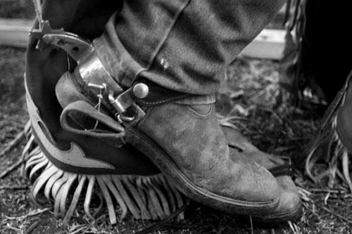 Sepatu sorang koboi dilengkapi spurs dalam ajang tahunan Rodeo di Toowoomba, Queensland, Australia