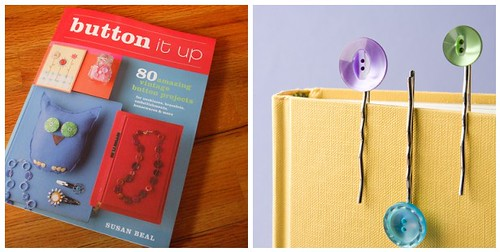 bonus crafty duo: signed book + buttons + hairclips for your first project!
