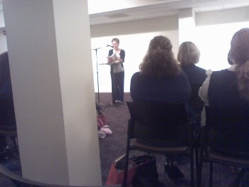 """Elinor Lipman reads from her novel, """"The Family Man,"""" at Sixth & I Historic Synagogue / photo taken by Rachel Mauro"""