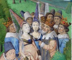 Detail of nobles from miniature depicting Fortune and her Wheel