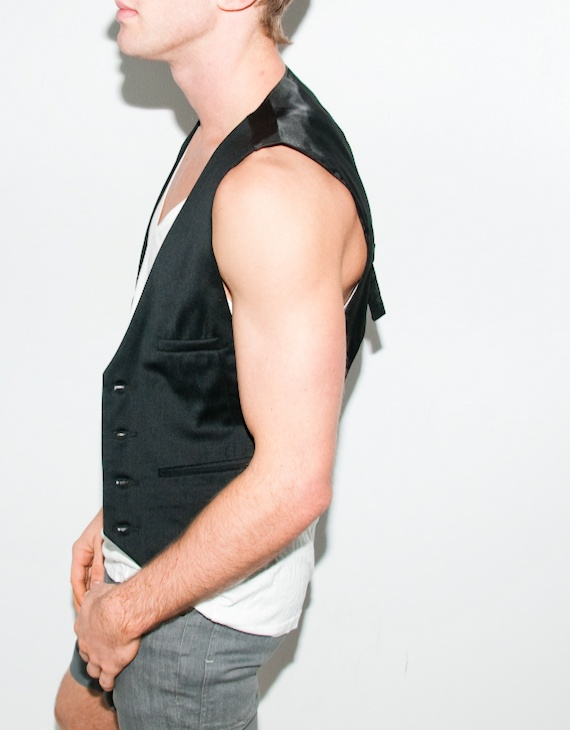 black high back vest