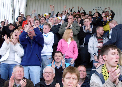 Dumbarton fans celebrate the first goal