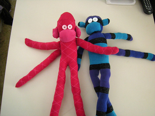 Hi! Were Aunt GiGis latest creations. We need names! We wont claw your face off like real pet monkeys!