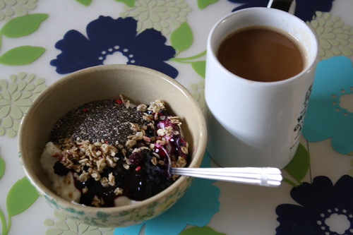 greek yogurt, chia seeds, granola, preserves, coffee