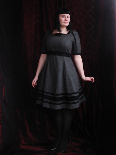 gray striped wool dress