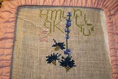 Herb Garden Bouquet  cross stitch begins
