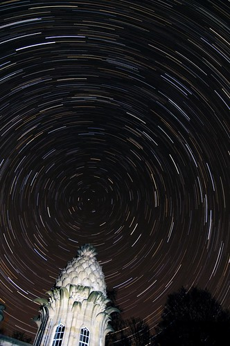 """Star Trail over """"the Pineapple"""", Airth, Central Scotland"""