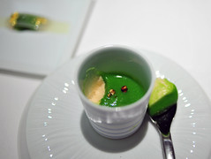 Amuse Bouche: Asparagus Puree with Foie Gras Chantilly