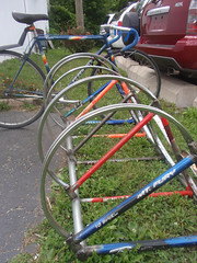 Hippy style, recycled bike rack