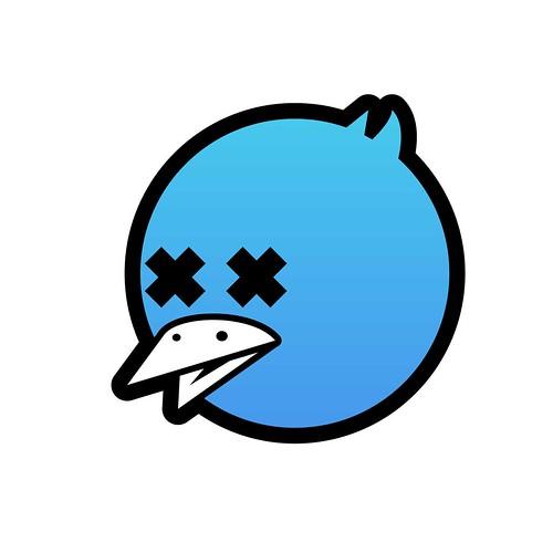 Ocell mort, un ocell blau és el símbol de Twitter (C) infekted.it