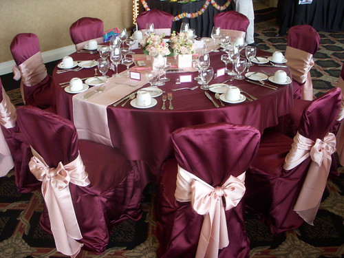 Burgundy and Pink Tablescape