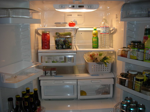 A vegetarian and bunny fridge at the end of the week