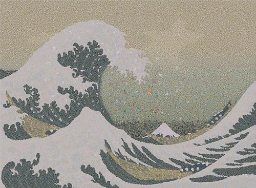 The Great Wave off Kanagawa recreated with plastic garbage