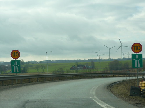 Wind turbines scattered in the Skåne countryside