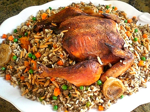Citrus & Herbs Roasted Chicken  Stuffed with Rice & Vegetables