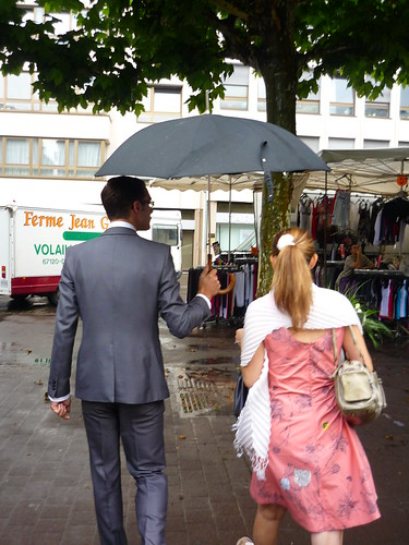 On the way to the civil ceremony in the rain