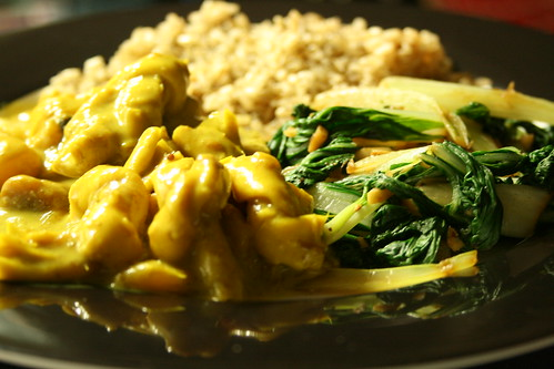 Mango Coconut Yuba Twist Curry with Garlic-Ginger Bok Choi and Green Tea Brown Rice