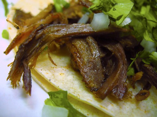 This is a goat meat taco.  The meat was a little too dry, and slightly gamey, but with a little salt and chipotle sauce, out of this world.