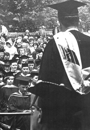 1969 Dowling College commencement ceremonies on the lawn of the mansion.