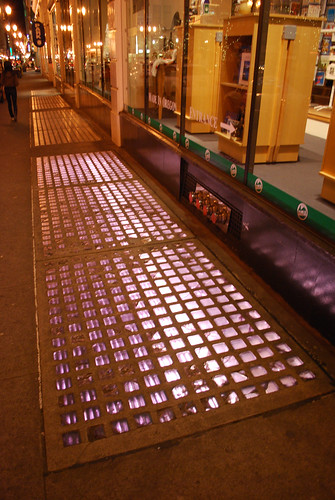 Illuminated glass sidewalk tiles in Downtown Portland