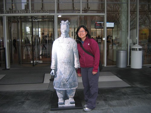comparing heights with the terra cotta warrior at High Museum