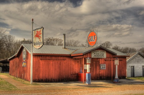 Clouds in this picture add to the overall feel of the old gas station located at Cannonsburgh.