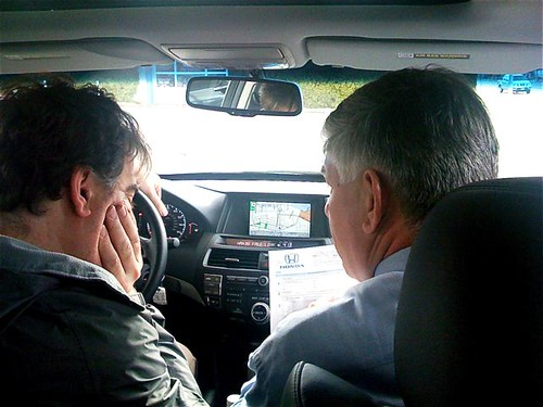 Steve and the Honda salesman yesterday figuring out the Nav. System