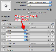 GarageBand 08 - Real Instrument Effects panel