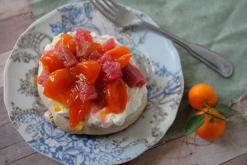 Candied Rhubarb and Kumquats on Chocolate Pavlova