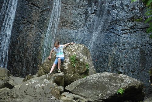 Climbing by La Coca falls, El Yunque