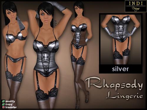 """Lingerie """"Rhapsody"""" silver"""