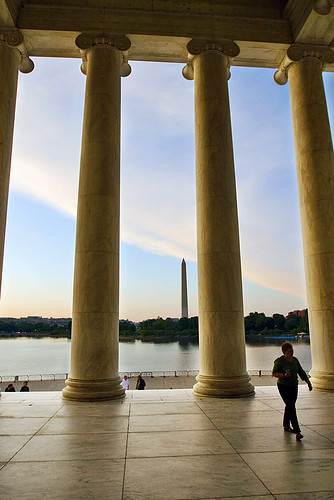 Walking back out of the Thomas Jefferson Memorial.