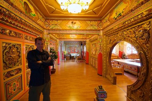 Self portrait in a very ornate hotel in Dawu, Tibet (China).