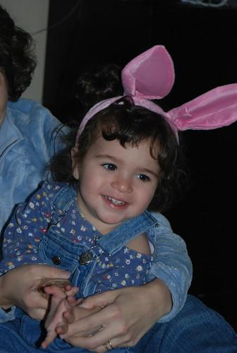 Safta sent bunny ears for Purim