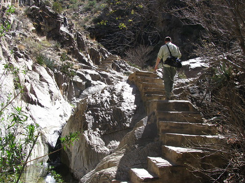 Rich negotiates the slick rock steps of the Window Trail