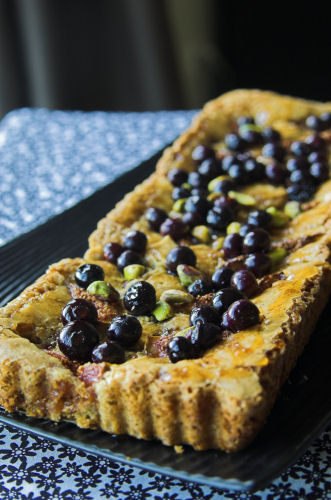 Fig, berry and pistachio burnt-butter tart