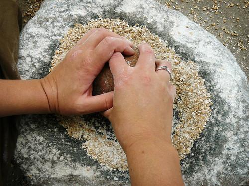 Grinding grain into flour