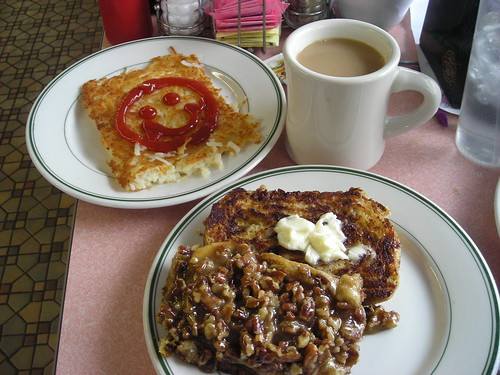 My fried pecan roll w/ hashbrowns & diner coffee by you.