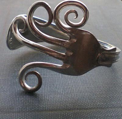 Antique Silver Plated Fork Bracelet