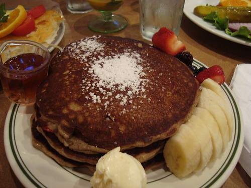Stack of fluffy banana-strawberry buckwheat pancakes (Photo: Carly Fisher)