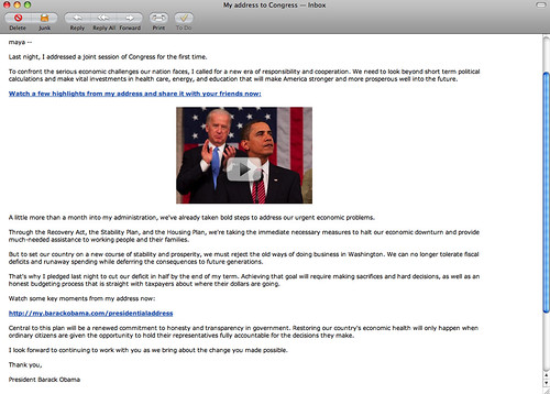 email from President Obama