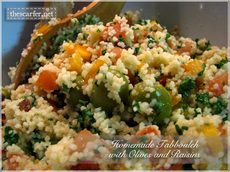 Homemade tabbouleh with olives and raisins