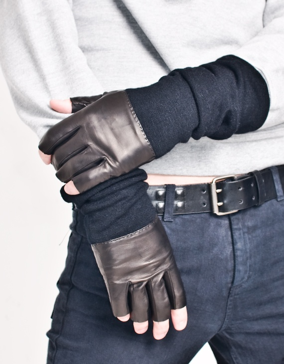 leather fingerless gloves with long knit arm