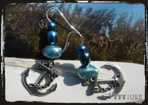 Orecchini blu ancora - Anchor blue earrings IFBANC