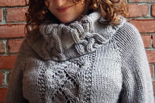 YIP.3.16 - Cable and Lace Cowl Neck Sweater, collar