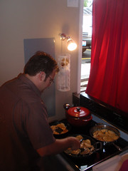 Winning chef Roland Kopecky cooking his bacon pierogies