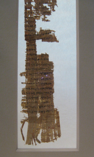 Papyrus fragment with lines from Homer\'s Odyssey